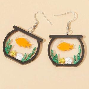 Fish in Fishbowl Design Drop Earrings